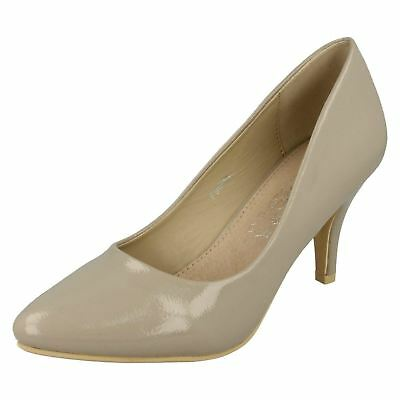 Ladies F9673 Synthetic Nude Slip On Court Shoes by Spot On SALE NOW £5.99