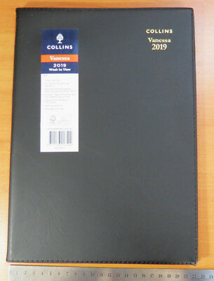 Diary 2019 Collins Vanessa  A4 Week To View 345 Stitched BLACK PVC