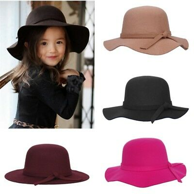 Toddler Baby Girls Wide Brim Sun Hat Pure Color Bow Knot Dome Woollen Formal Hat
