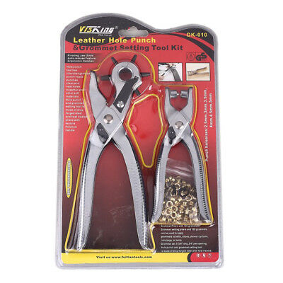 Leather Hole Punch & Grommet Setting Tool Kit 100pc Eyelets Pliers Belt Shoe UK