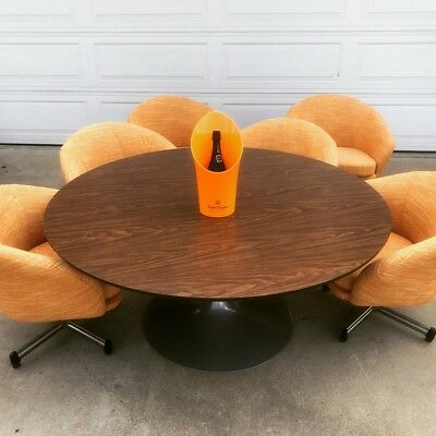 """Mid Century Viko Baumritter 60"""" Round Table With 6 Swiveling Pod Chairs"""