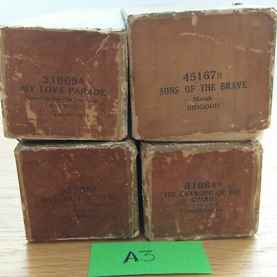 4 Antique Pianola Rolls Sons Of The Brave, The Changing of The Guard Etc - A3