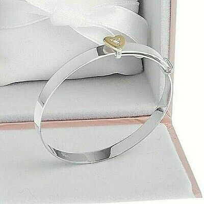 Solid Silver Baby Girl's Bracelet Cubic Zirconia Heart Gift Boxed Free Delivery