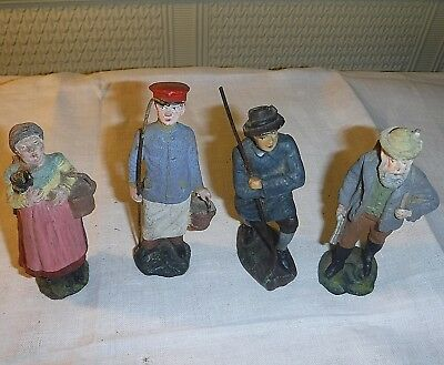 Spanish Collection Of 4 Resin ? Early 20Th Century Peasants Group 4 1/2 Inch H