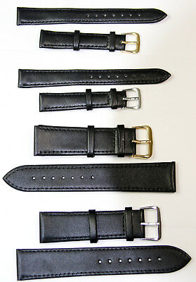 BLACK Extra LONG Genuine Leather Watch Wrist Band Strap 10/12/14/16/18/20/22 mm