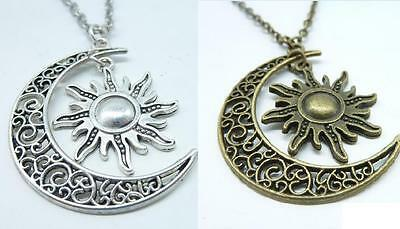 Vintage Silver Crescent Moon Sun Charm Pendant ,Crescent Moon And Sun Necklace