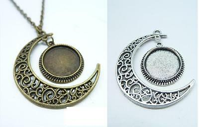 Vintage Silver Crescent Moon Charm Pendant Crescent Moon And cabochon Necklace