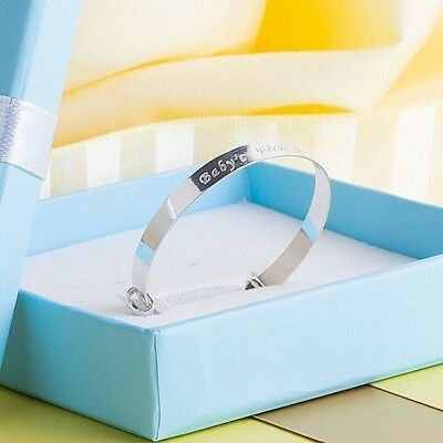 Solid Silver Custom Engrave Personalised Baby Bangle Gift Boxed, Free Delivery