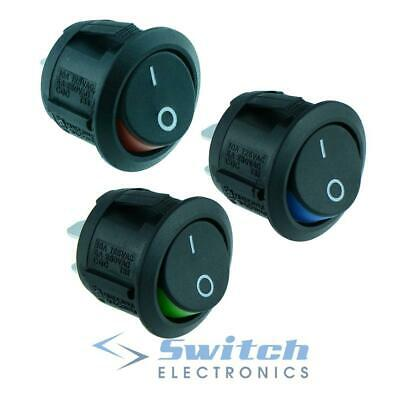 Red Blue Green Round Circular 'Visi On' Rocker Switch DPST 10A 250V