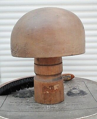 Vintage French Wooden Hat Block/Form + Stand, Millinery Making, Hat Display.