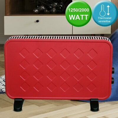1250/2000W electric heating unit fan red 2 heating stages adjustable thermostat