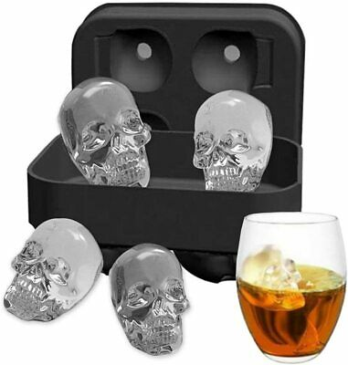 NEW 3D Silicone Skull Shape Ice Cube Trays Mold Mould Cocktails Whisky Halloween