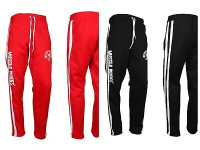 MENS FLEECE JOGGERS JOGGING TRACKSUIT BOTTOMS (ELASTICATED) GYM TROUSERS Muscle