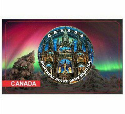 2018 Canadian 25 Cents Coloured, Montréal's famous landmark, Notre Dame Basilica