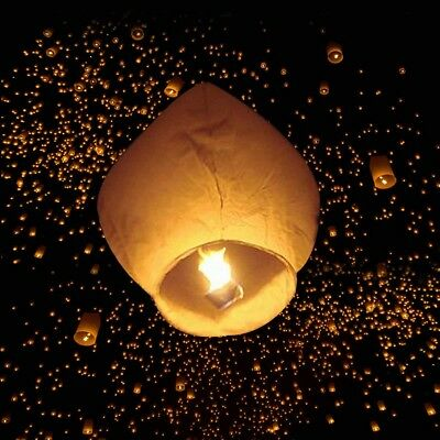 50 White Chinese Paper Lanterns Sky Fire Candle Wish Lamp Wedding Party Decor US