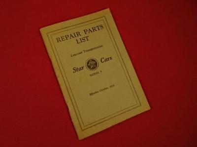 Antique Vintage 1928 Star Cars Model F Repair Parts List Catalog Early Auto