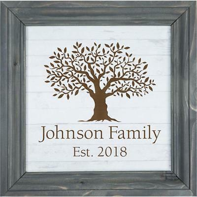 Personalized Laser Engraved Faux Wood Framed Sign, Wedding/Anniversary Name