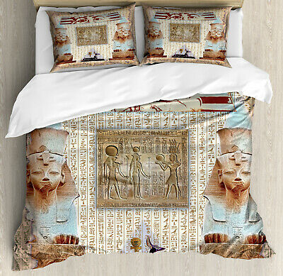 Egypt Duvet Cover Set with Pillow Shams Ancient Heritage Mummy Print