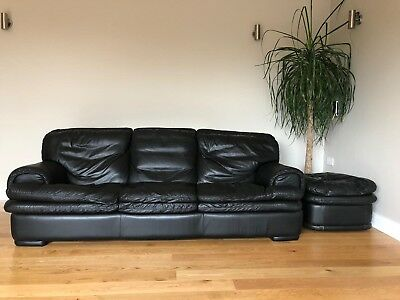 Natuzzi Italian Designer Black Leather Sofa Suite Footstool Rrp 10k