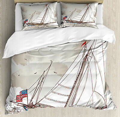 Vintage Duvet Cover Set with Pillow Shams Antique American Yacht Print