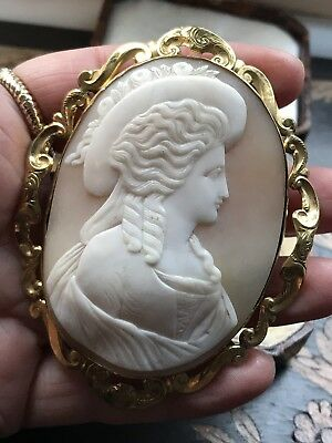 Large Antique Victorian Italian Female Portrait Carved Shell Cameo Brooch/pin