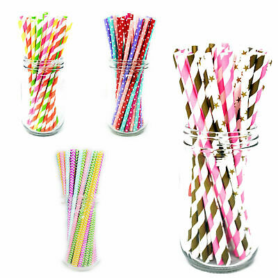 25x Retro PAPER STRAWS Biodegradable Vintage Party Birthday Christmas Tableware