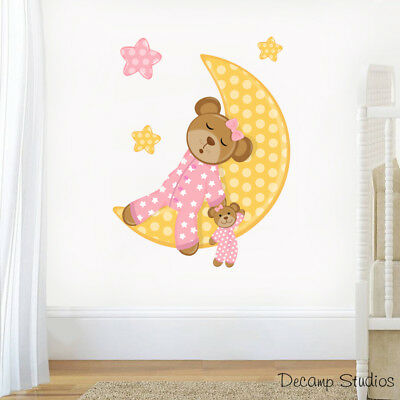 Girl Nursery Decals Pink Teddy Bear Wall Art Moon Stars Mural Baby Stickers