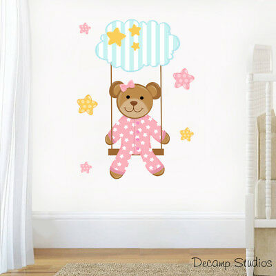 Teddy Bear Swing Decal Baby Girl Nursery Wall Art Stickers Cloud Stars Kids Room