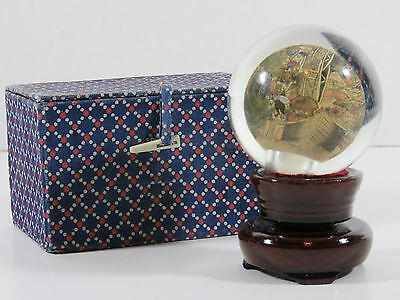 Asian Reverse Hand Painted Glass Paperweight Globe with Stand & Box Signed