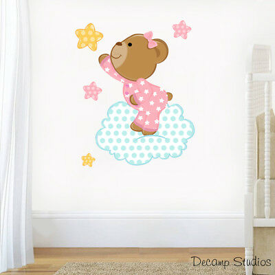 Teddy Bear Decal Baby Girl Nursery Wall Art Stickers Mural Cloud Star Kids Room