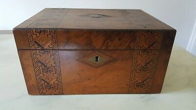 Antique Beautiful Inlaid Wooden Writing Slope Box  For Light Restoration