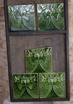 Antique Victorian Original Five Art Nouveau Majolica Fuchsia Tiles Wall England