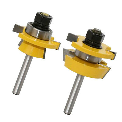 2 x Tongue & Groove Router Bit T Shape Wood Milling Cutter for Doors/Drawers