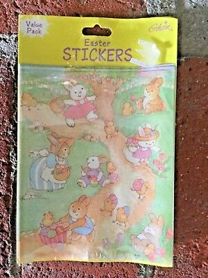 Vintage Gibson Easter Stickers Sweet Bunnies & Chicks New 6 Sheets 1993