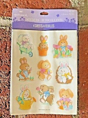 Vintage Hallmark Easter Stickers Sweet Bunnies New 4 Sheets 1990's