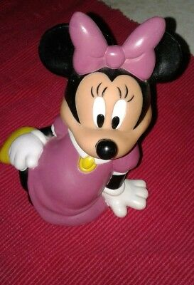 """DISNEY MINNIE MOUSE PLASTIC COIN PIGGY BANK 6"""" PURPLE Dress pink girl +Free gift"""