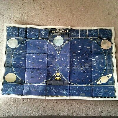 "Vtg. 1957 National Geographic Heavens Planetary double-sided wall map 28"" x 42"""