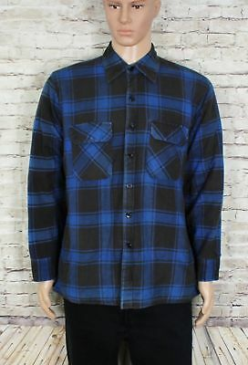 Mens Vintage Blue Quilted Flannel Shirt Check Plaid Grunge Size L
