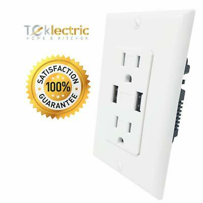 Teklectric - 4.0A Ultra High Speed Dual USB Charger Outlet / Receptacle 15A