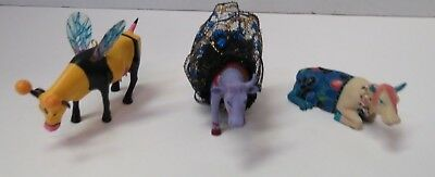 """Cows On Parade Lot Of 3 Mini Cows 3"""" Figurines"""