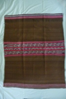 """Vintage Andean Ceremonial Manta/Blanket from Bolivia  Brown and Pink 38""""X 46.5"""""""