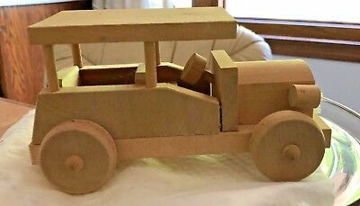 VINTAGE WOODEN Handcrafted CAR w closed floor COLLECTIBLE Natural Automobile TOY