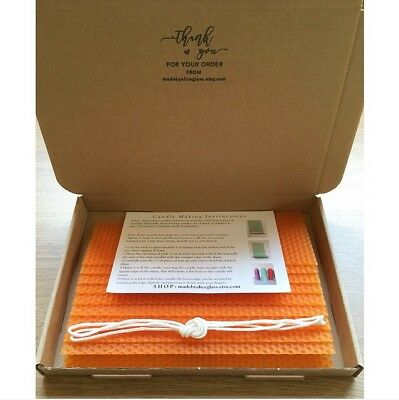 Beeswax Sheets Rolled Candle Making Kit 10 sheets Instruction, Wick, Orange Wax