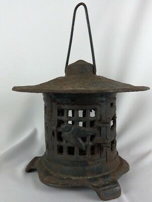 Vintage Cast Iron Pagoda Japanese Oriental Style Hanging Outdoor Lantern