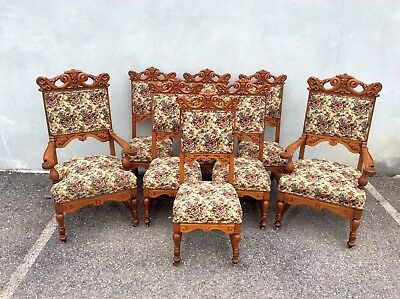 Set Of 8 Heavly Carved Oak Dining Chairs. 1890s Horner Era. Victorian