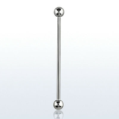 16G 14G Extra Long Surgical Steel Industrial Barbell Earrings with 4mm Balls