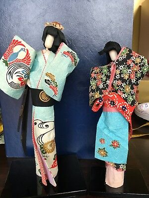 Vintage Washi Paper Japanese dolls Two Women On Stands. Rare- Original Box