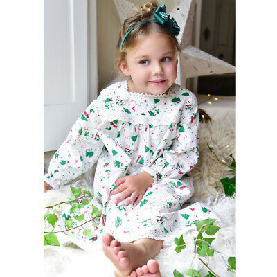 Girls Christmas Nightie Nightdress Long Sleeved Cotton BNWT Powell Craft 2-12yr