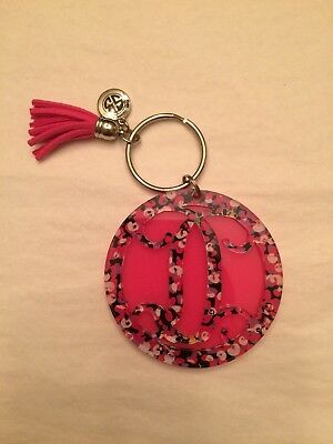 BRAND NEW R Initial SIMPLY SOUTHERN KEYCHAIN DAISY with Pink