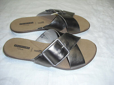 3ef0739cd Clarks Women s Kele Heather Pewter Leather Sandals Size 7.5 M NEW MRSP  94